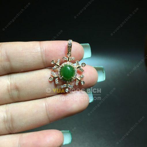 Mặt Dây Bông Tuyết Ngọc Bích Nephrite Jade (MD173)