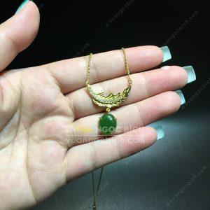 Dây Chuyền Lông Vũ Ngọc Bích Nephrite Jade (MD175)