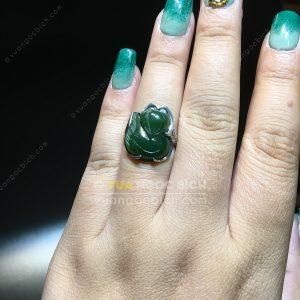 Nhẫn Bạc Hồ Ly Ngọc Bích Nephrite Jade (NN069)