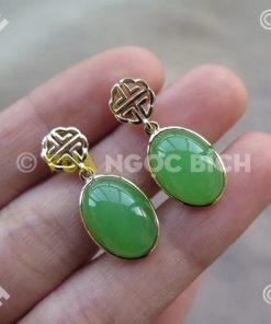 Bông Tai Ngọc Bích Nephrite Jade (VNB-BT198)