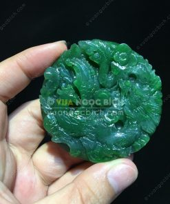 Mặt Dây Long Phụng Sum Vầy Ngọc Bích Nephrite Jade (VNB-MD059-2)