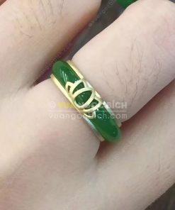 Nhẫn Bầu Ngọc Bích Nephrite Jade (VNB-NN048-3)