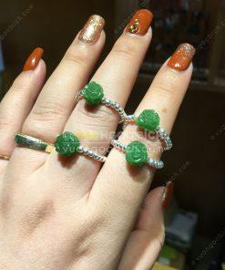 Nhẫn Hoa Mẫu Đơn Ngọc Bích Nephrite Jade (VNB-NN039-2)
