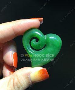 Mặt Trái Tim Ngọc Bích Nephrite Jade (VNB-MD241)