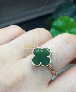 Nhẫn Cỏ Bốn Lá Ngọc Bích Nephrite Jade (VNB-NN118)