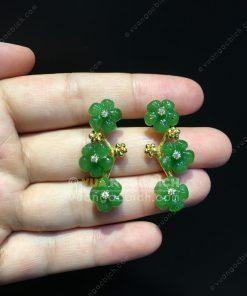 Bông Tai Hoa 5 Cánh Ngọc Bích Nephrite Jade VIP (VNB-BT218)