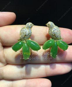 Bông Tai Chim Uyên Ương Ngọc Bích Nephrite Jade VIP (VNB-BT217)