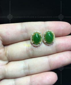 Bông Tai Ngọc Bích Nephrite Jade (VNB-BT007)