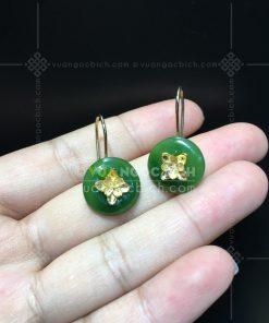 Bông Tai Đồng Điếu Ngọc Bích Nephrite Jade VIP ( VNB-BT233)