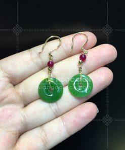 Bông Tai Đồng Điếu Ngọc Bích Nephrite Jade VIP (VNB-BT234)