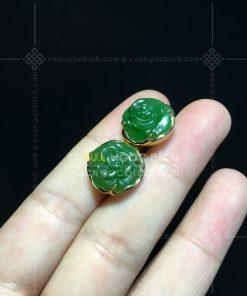 Bông Tai Hoa Mẫu Đơn Ngọc Bích Nephrite Jade (VNB-BT351-3)