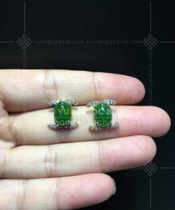 Bông Tai Ngọc Bích Nephrite Jade Kiểu Chanel (VNB-BT231)