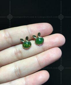 Bông Tai Ngọc Bích Nephrite Jade Thỏ Xinh (VNB-BT246)