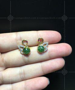 Bông Tai Thiên Nga Ngọc Bích Nephrite Jade (VNB-BT232)