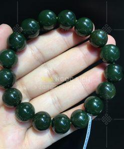 Vòng Tay Ngọc Bích Nephrite Jade 12mm Xanh Đậm (VNB-VT046-4)